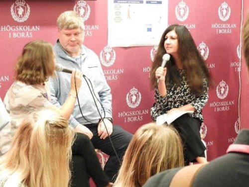 Nasrine Olson giving an interview on the Book Fair in Göteborg