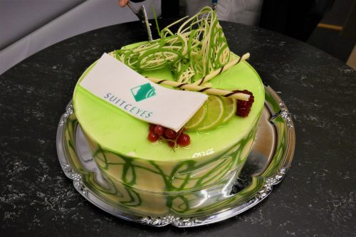 A delicious cake with the suitceyes logo especially made for the project's kickoff