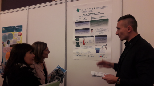 Harpo presenting a poster of the SUITCEYES project on the ATAAC conference in Zagreb