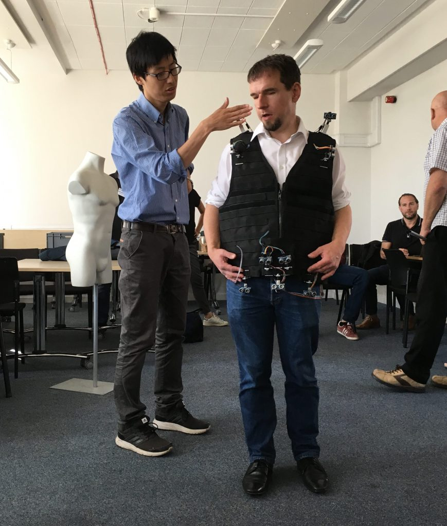 Testing the vest with vibro-tactile interface