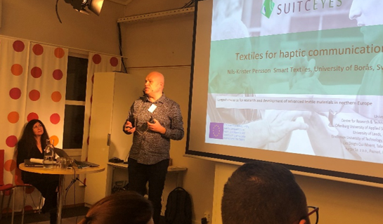 Nils-Krister Persson presenting SUITCEYES at ICT conference at Eikholt